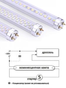 Подключение люминесцентной лампы с описанием