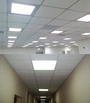 Светодиодные светильники для потолков Армстронг в интерьере