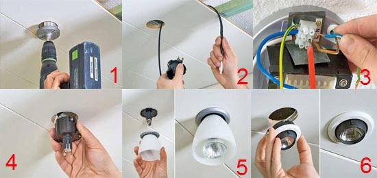 Замена светодиодного светильника в потолке